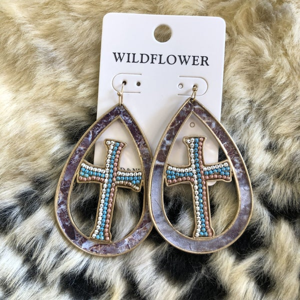 Beaded Cross Open Teardrop Marble Earrings