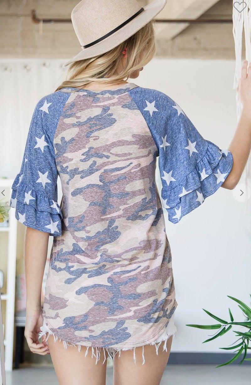 Vintage Camo Navy Stars Ruffle Sleeve Top