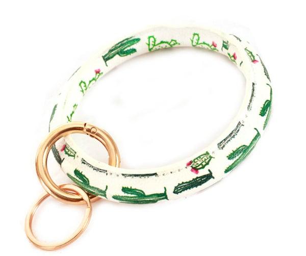 "3"" Cactus Print Leather Bracelet KeyChain"