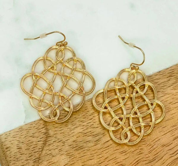 Gold Infinity Design Earrings