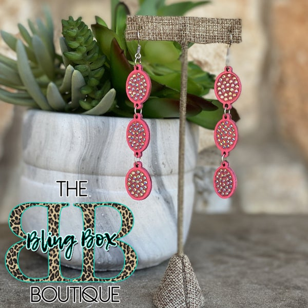 Hot Pink AB 3 Tier Oval Earrings