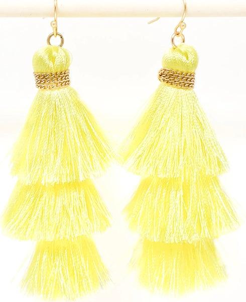 Light Yellow Tassel Earrings