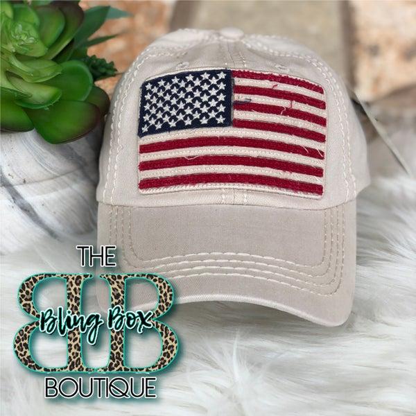 Ivory American Flag Vintage Hat