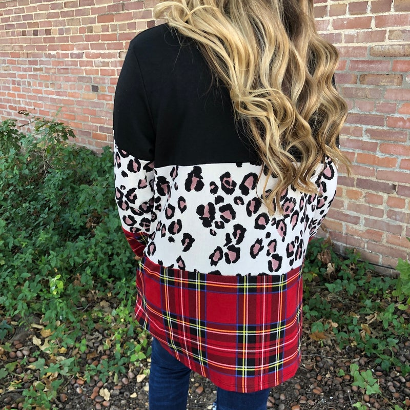 Christmas Morning Plaid & Leopard Color Block Top