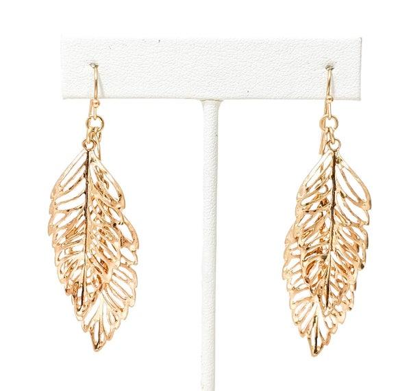 Gold Adaline Double Leaf Earrings