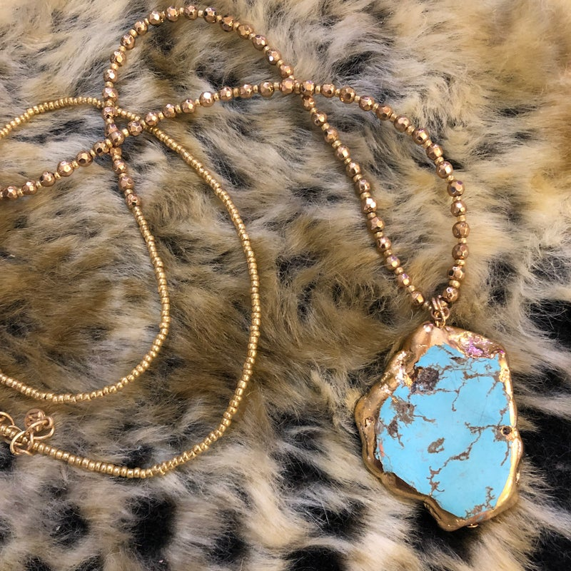 """32"""" Gold Dipped Turquoise Howlite Stone Slab Necklace"""