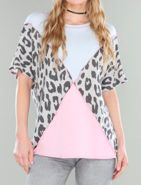 Blue & Pink Leopard Colorblock Top