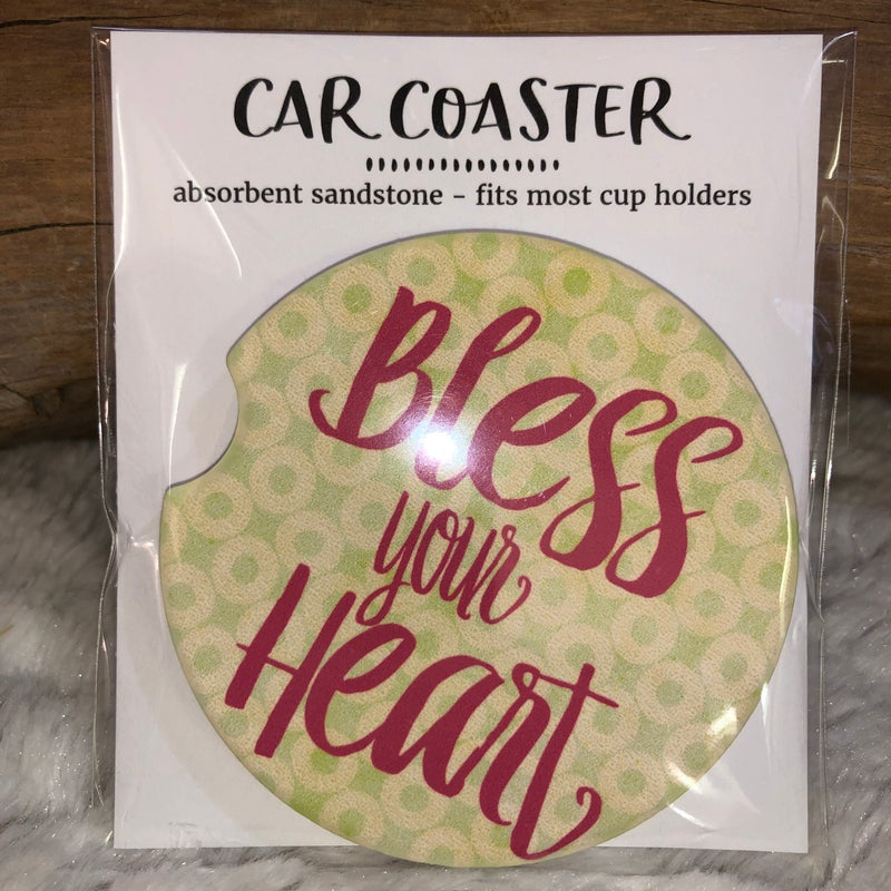 Bless Your Heart Sandstone Car Coaster