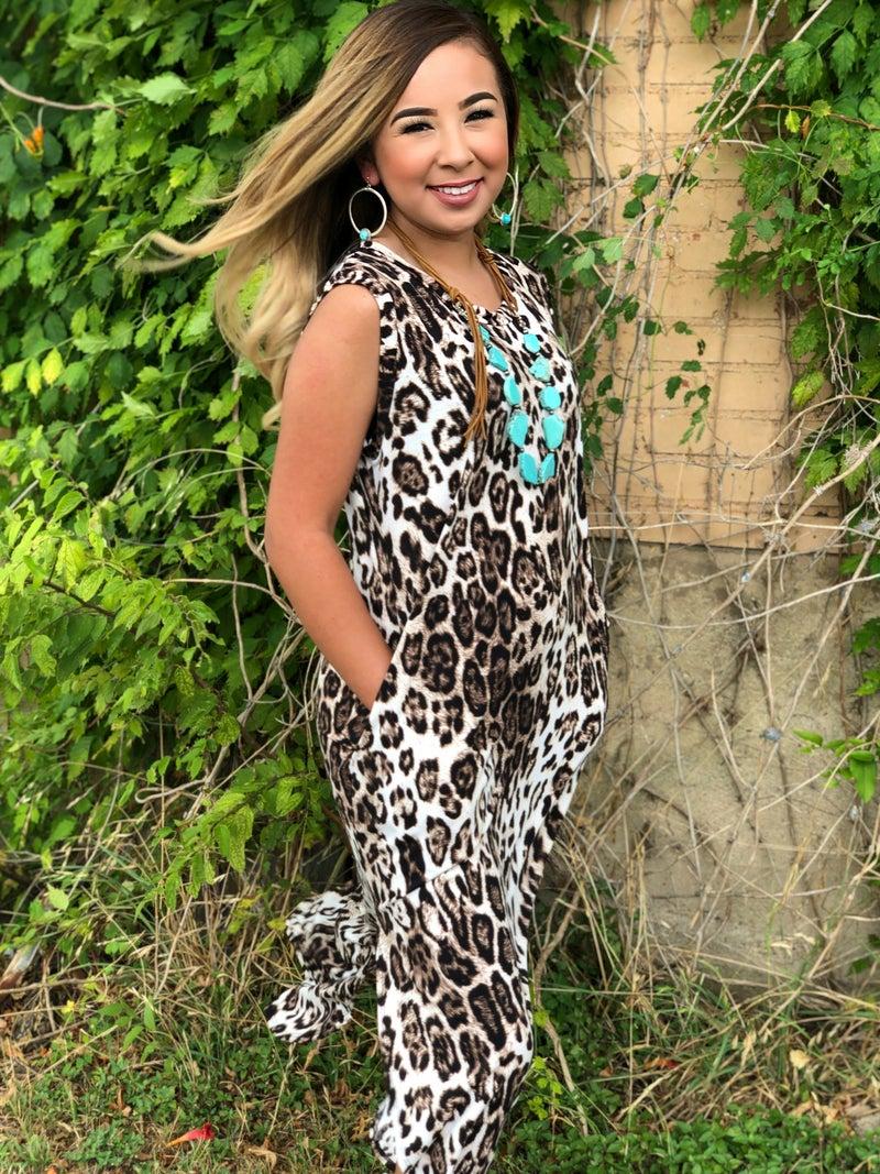 Leopard Print Sleeveless Maxi Dress