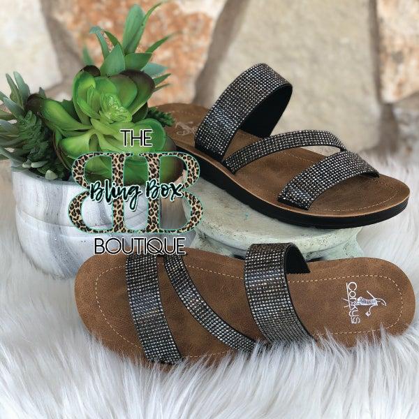 Corkys Kaplan Black Rhinestone Sandals