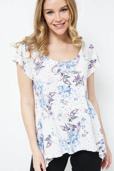Blue Floral Paisley Print Scoop Neck Top
