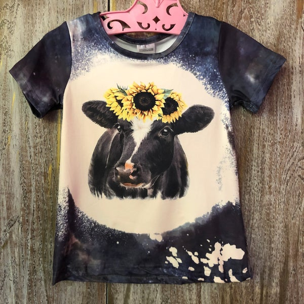 Kids Navy Bleached Sunflower Cow Tee