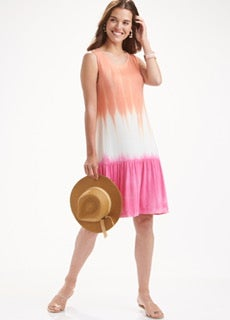 Orange/Pink Mix Ombre Ruffle Mid Maxi Dress