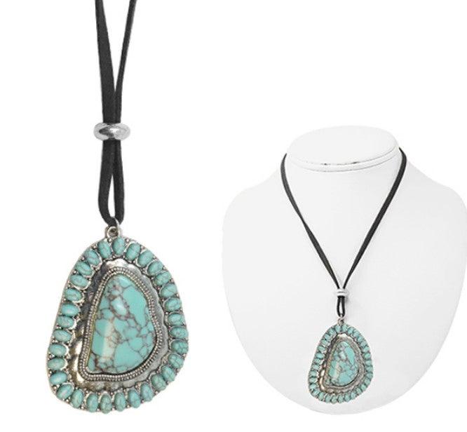 Turquoise Stone Desperado Medallion Leather Necklace