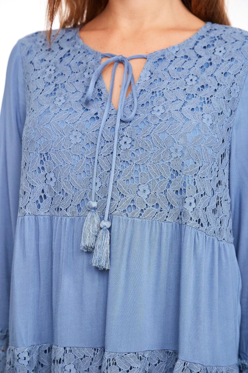 Blue Bohemian Lined Lace Long Sleeve Dress