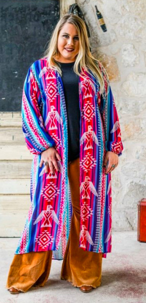 PLUS SIZE Stripe Thunderbird Long Kimono