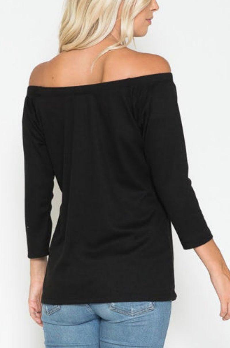 Black 3/4 Sleeve Knit Top