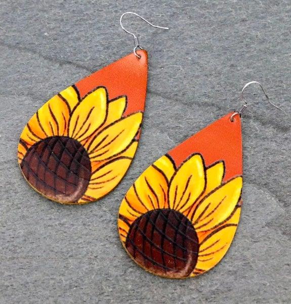 Brown Leather Sunflower Teardrop Earrings