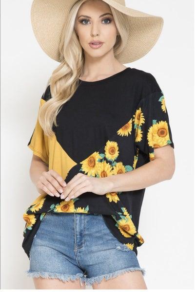Sunflower Print Short Sleeve Tunic