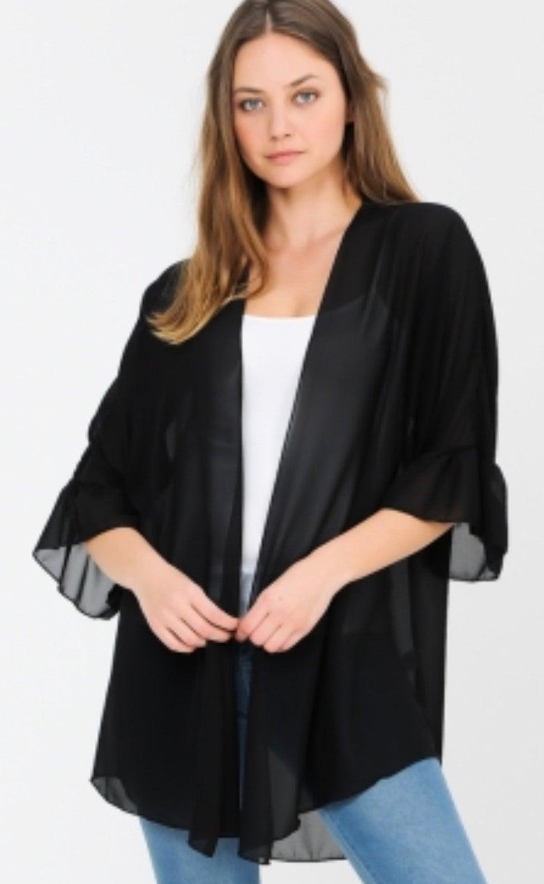 Solid Black Sheer Ruffle Sleeve Kimono