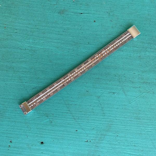 Rose Gold Bling Leather Magnetic Bracelet