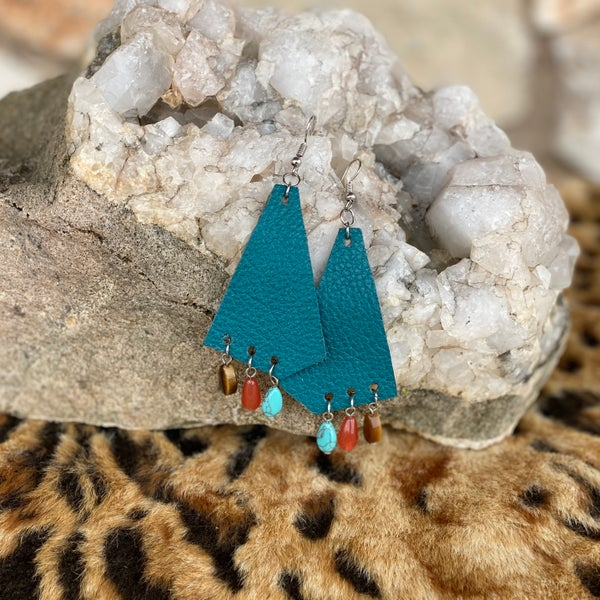 Teal Beaded Fringe Charm Leather Earrings