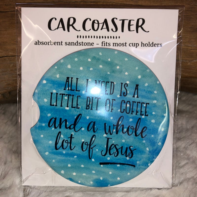 Coffee and Jesus Sandstone Car Coaster