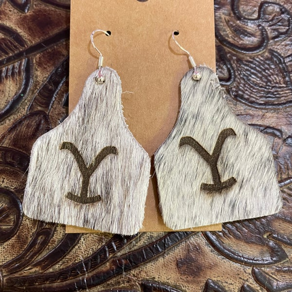 Yellowstone Brindle Branded Leather Cow Tag Earrings #1