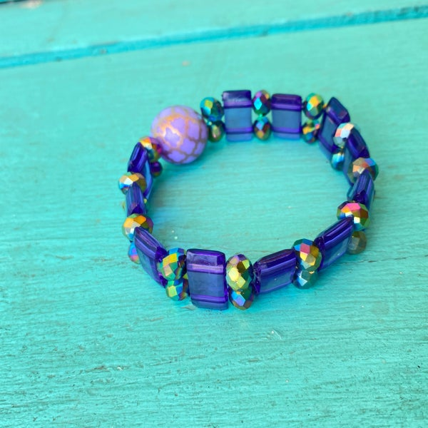 Bonnie Angela Purple Crystal  Stretch Bracelet #1