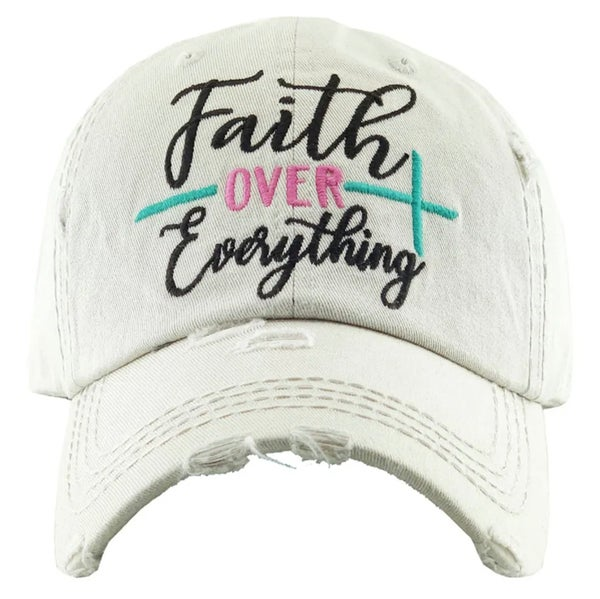 Cream Embroidered Faith Over Everything Hat