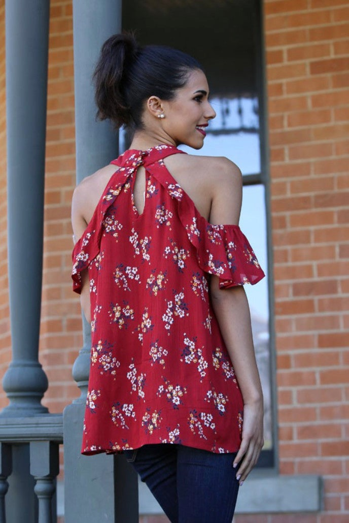 Red Cold Shoulder Floral Ruffle Sleeve Top