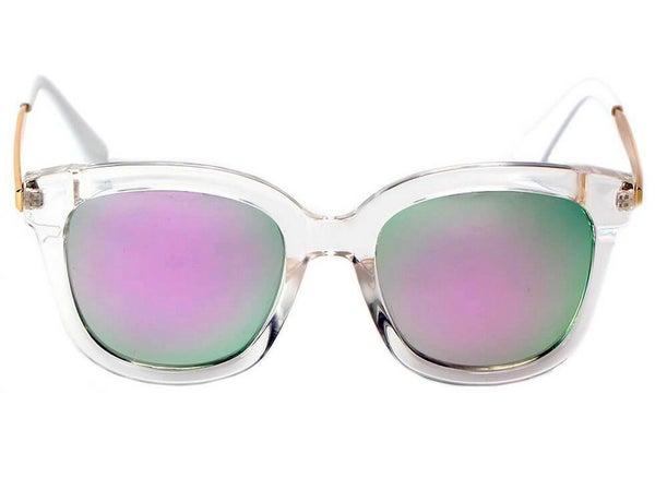 Women's Oversize Purple/Green Mirrored Lens Clear Horned Rim Sunglasses