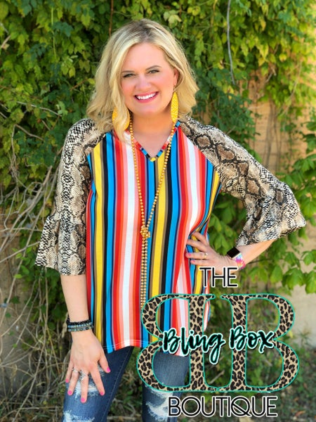Rowdy Rattle Snake Striped Bell Sleeve Top