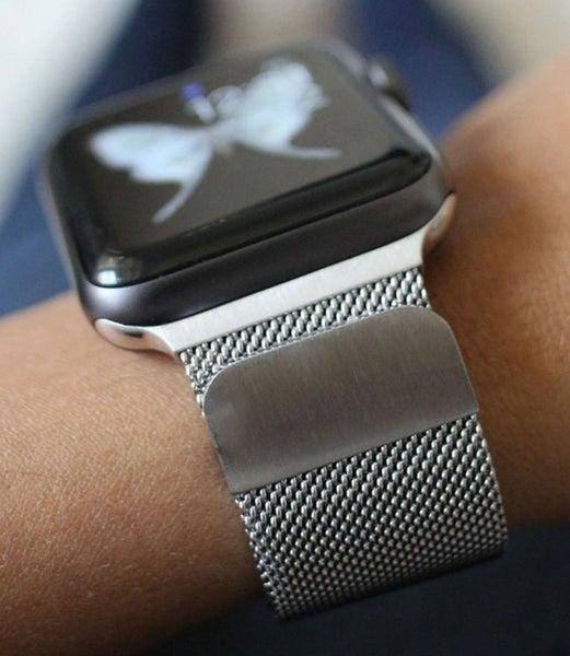 Silver 42 mm Milanese Loop Mesh Apple Watch Metal Band