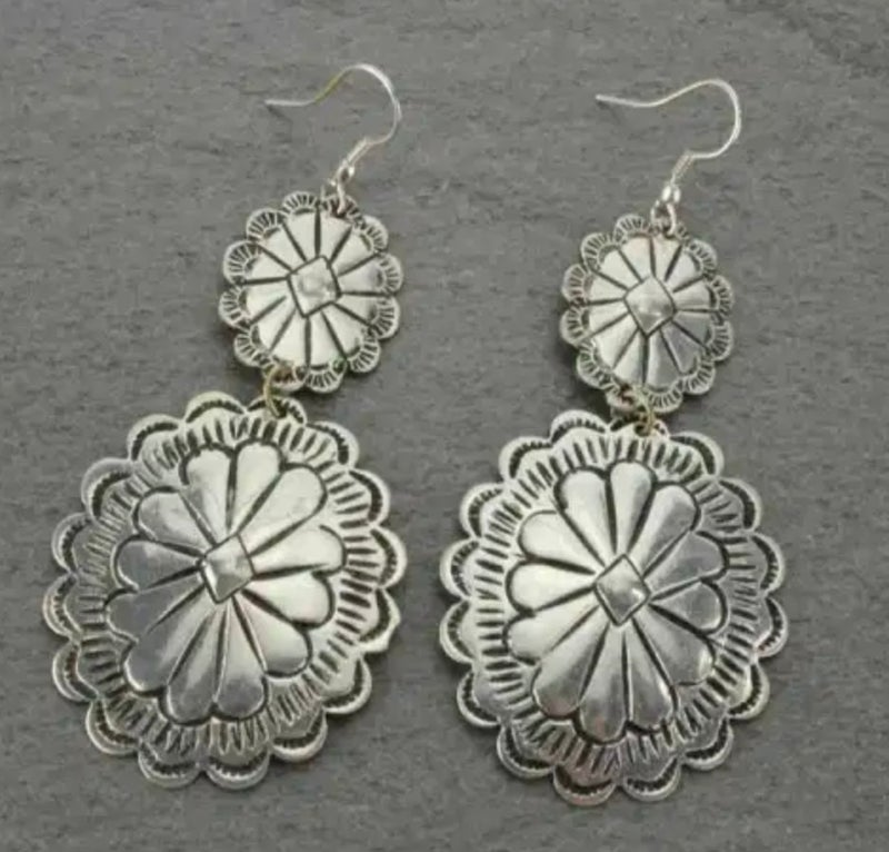 Silver Textured Concho Earrings