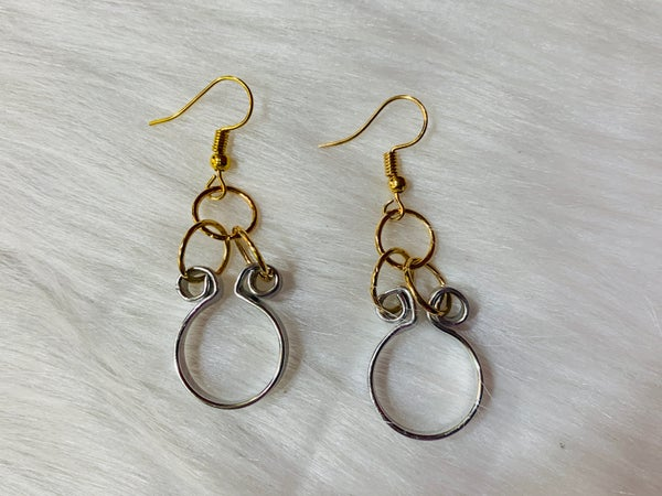 Gold & Silver Swirl Chain Earrings