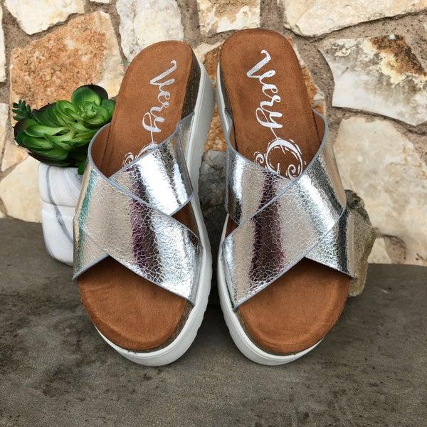 Silver Elena Criss Cross Sandal SIZE