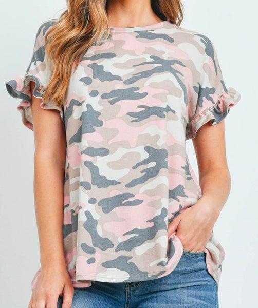 Charcoal Pink Camo Ruffle Sleeve Top