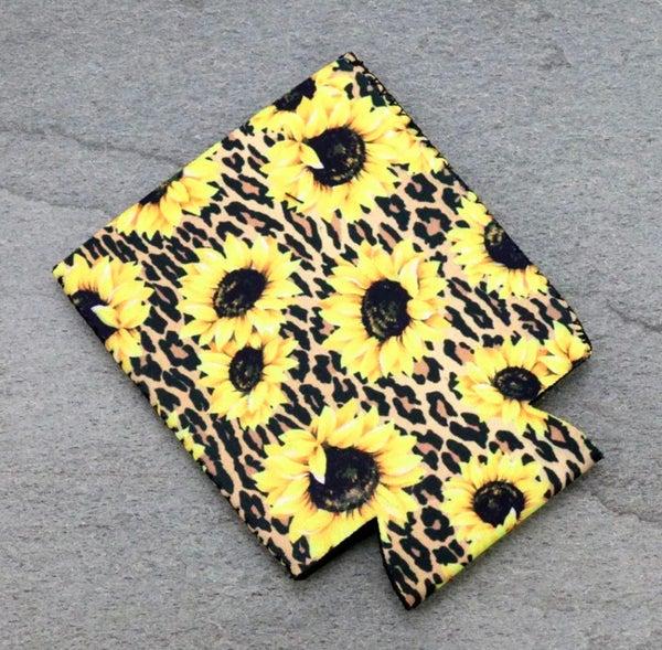 Leopard Sunflower Koozie