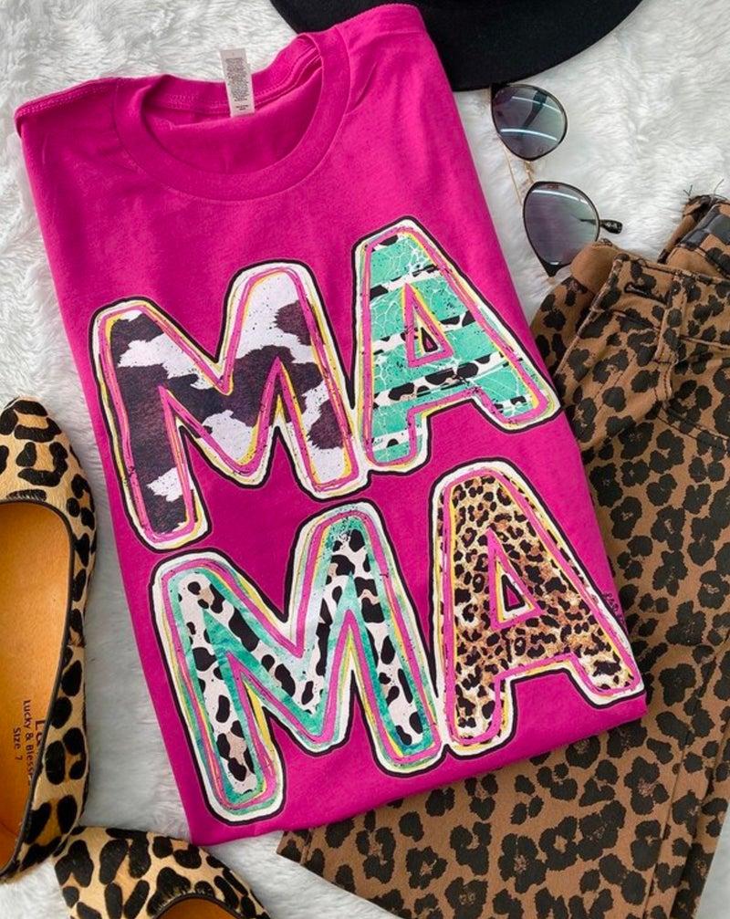 Mama Cowprint Leopard Mix Pink Tee