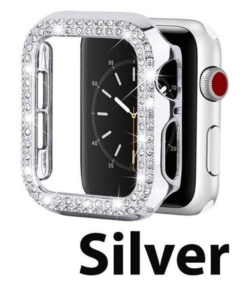 Silver 42 mm Rhinestone Crystal Bling Apple Watch Case