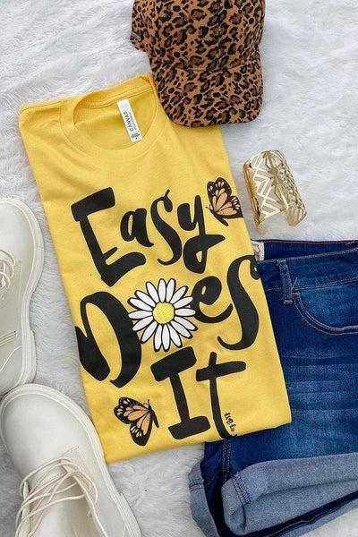 Yellow Easy Does It Daisy Tee