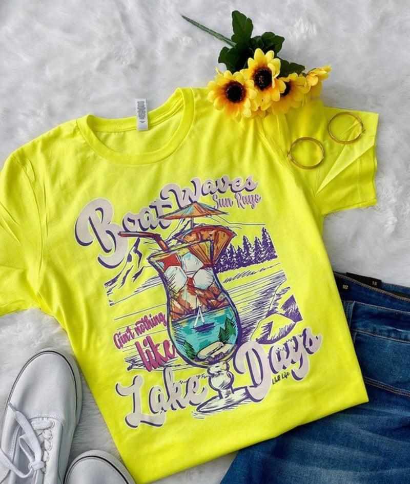 Boat Waves Lake Days Neon Yellow Tee