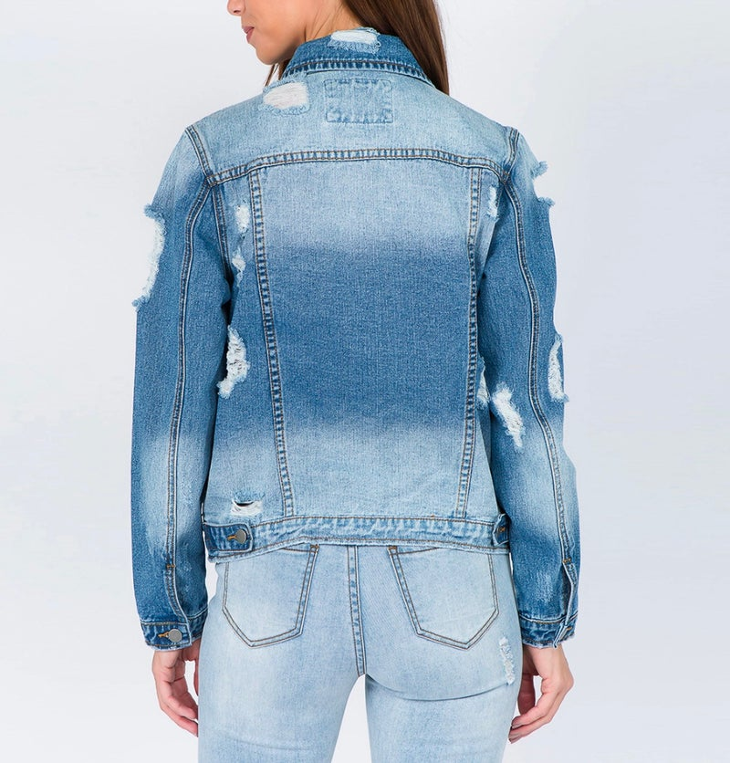 Light Denim Blue Distressed Jean Jacket