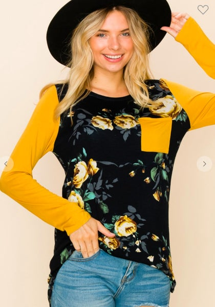 Mustard Sleeve Yellow Rose Floral Top