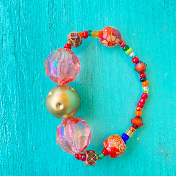 Bonnie Angela Coral Multi Crystal Stretch Bracelet