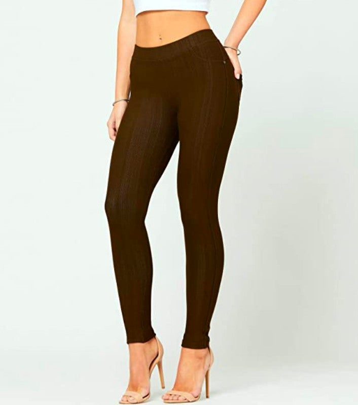 Chocolate Brown Jeggings - MISSES ONE SIZE