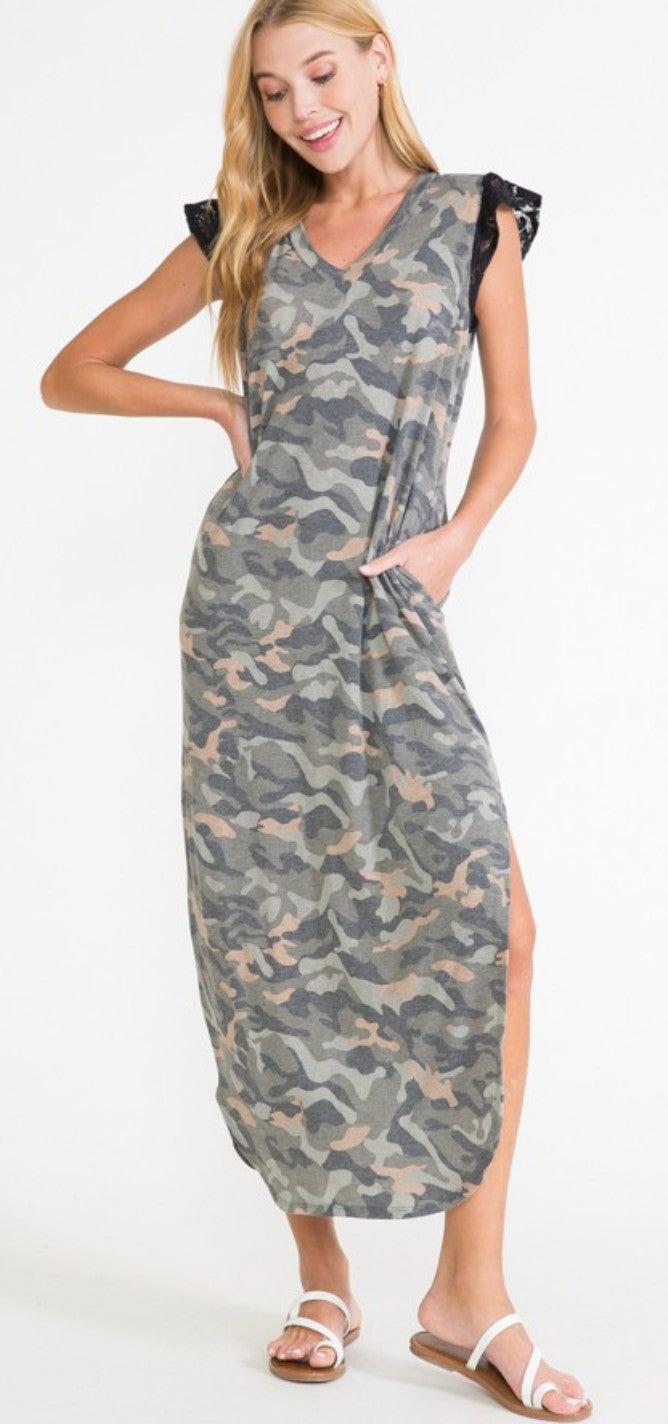 Camo Black Lace Flutter Sleeve Maxi Dress