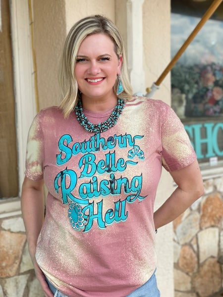 Mauve Bleached Southern Belle Raising Hell Tee