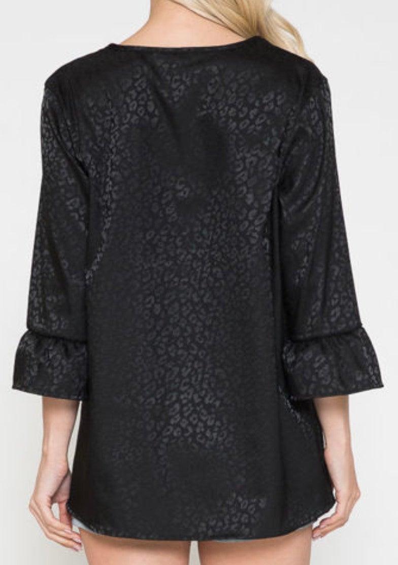 Solid Black Silk Leopard Ruffle 3/4 Sleeve Top